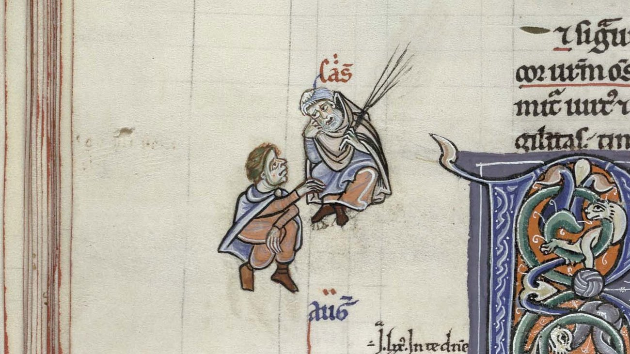 Augustin and Cassiodore in discussion in the margin of Cambridge, Trinity College, B.5.4, fol. 84v.